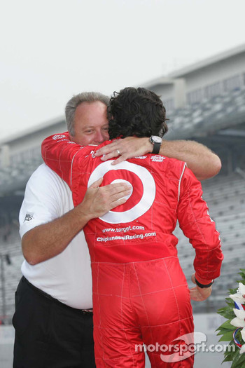 Brian Barnhardt congratulates Dario Franchitti on his Indianapolis 500 victory