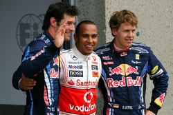 Sebastian Vettel, Red Bull Racing, Lewis Hamilton, McLaren Mercedes and Mark Webber, Red Bull Racing