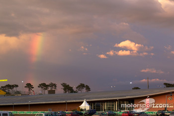 A rainbow over the track at the end of the day
