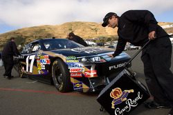 Car of Matt Kenseth, Roush Fenway Racing Ford pushed to technical inspection