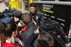 Esteban Ocon, Renault Sport F1 Team Test Driver with the media