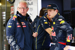 (L to R): Dr Helmut Marko, Red Bull Motorsport Consultant with Max Verstappen, Red Bull Racing