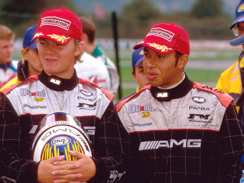 Lewis Hamilton & Nico Rosberg in AMG racesuits