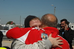 Victory hug for Ryan Booth from his dad, Jim following Ryan's IMSA Lights victory in race #2