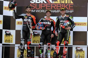 Race 2 podium: Sylvian Guintoli, Marco Melandri, and Tom Sykes