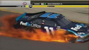 Hamlin Catches Fire - Michigan - 06/17/2012