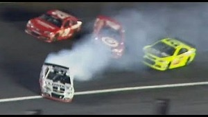 Johnson spins out and collects Montoya