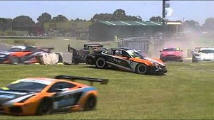 2010 Australian GT Sandown Race 1 MASSIVE CRASH LIVE