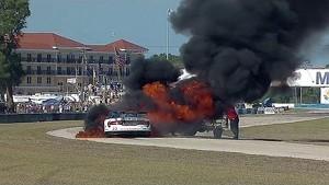 2014 United SportsCar Championship 12 Hours of Sebring Ben Keating SRT Viper GT3-R Huge Fire