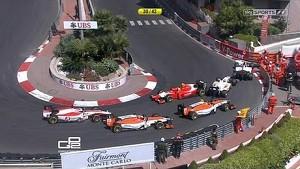 2014 Monaco GP2 race: road block at the hotel hairpin