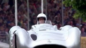 Lord March and Sir Stirling Moss drive the Mercedes Benz W196 at Festival of Speed 2014