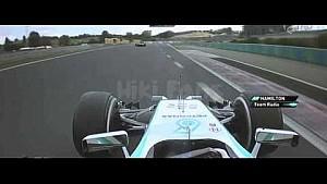 F1 2014 Hungarian GP - Lewis Hamilton burning car
