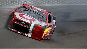 Larson makes hard contact with the wall