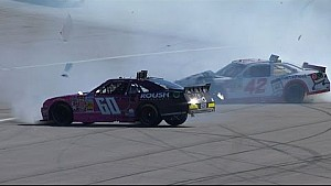 Larson & Buescher collide in big accident - 2014 Kansas