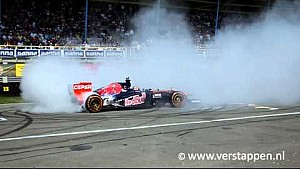 5x Donuts by Max Verstappen in a RB7 Scuderia Toro Rosso, TT Circuit Assen, 02/08/2015