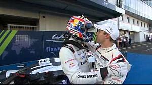 Festivities for the Porsche camp as Mark Webber alights from the winning car