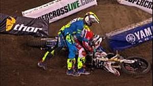 Peick fights Friese - Anaheim 1 Supercross