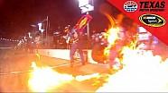 Dale Earnhardt Jr. sort des stands en feu!