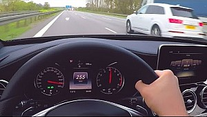 Mercedes C450 AMG Onboard Autobahn Driver View V6 Biturbo Sound W205 Acceleration