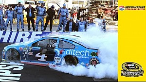 Harvick performs signature burnout, blows out a tire