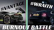 Burnout Battle: Aston Martin GTE Vantage v Rolls-Royce Wraith