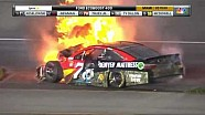 Edwards crasht, auto Truex Jr vat vlam