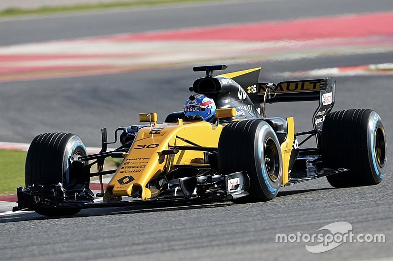 renault and haas f1 2017 cars hit the track at barcelona. Black Bedroom Furniture Sets. Home Design Ideas