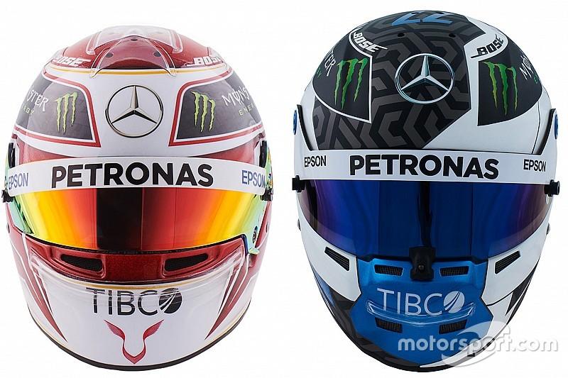 A Hamilton-Bottas duó 2019-es sisakja és szerelése a Mercedesnél