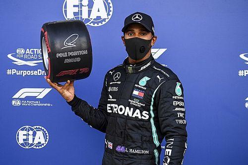 Pole Hamilton na enerverende kwalificatie, Verstappen knap op P2