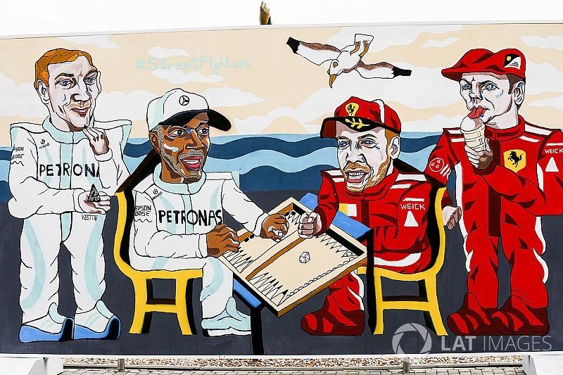 Galeri: Bakü'de F1 pilotları için çizilen çizgi karakterler