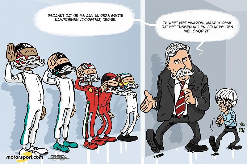 Cartoon van Cirebox - Nieuwe F1-baas maakt kennis met de kampioenen