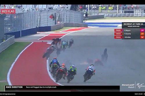 El fuerte accidente en Moto3 que detuvo la carrera en Austin