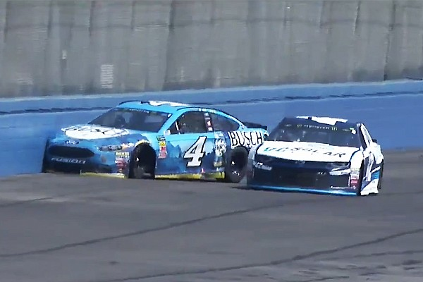 NASCAR Cup Breaking news Harvick's win streak ends with crash in first stage at Fontana