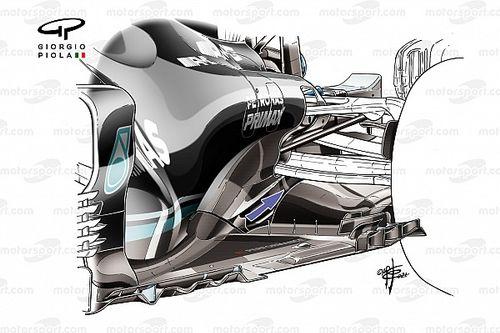 Cómo Mercedes F1 trata de recuperar carga aerodinámica en el W12