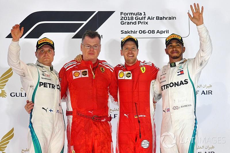 Vettel wint turbulente Grand Prix van Bahrein, dubbele DNF Red Bull