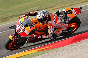 MotoGP Practice report Aragon MotoGP: Marquez leads warm-up, Lorenzo crashes