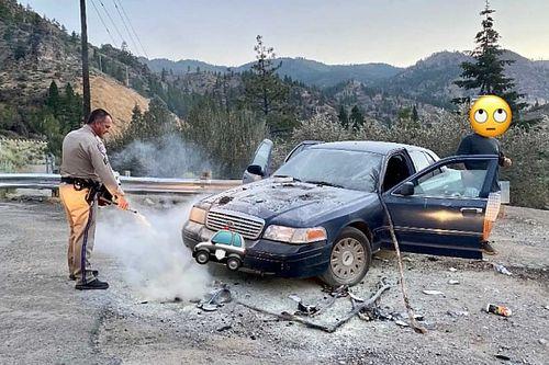 Felgyújtotta autóját egy férfi, hogy elijessze a nem létező medvéket