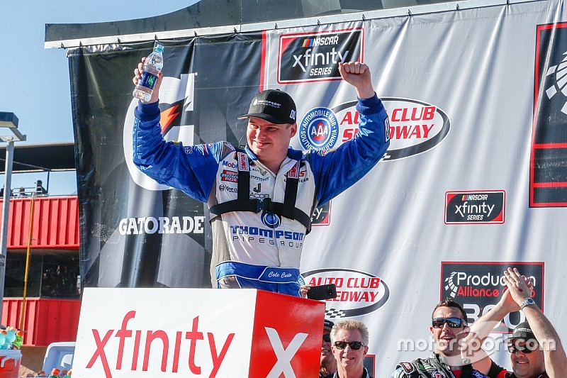 Cole Custer holds off Kyle Busch to win Fontana Xfinity race