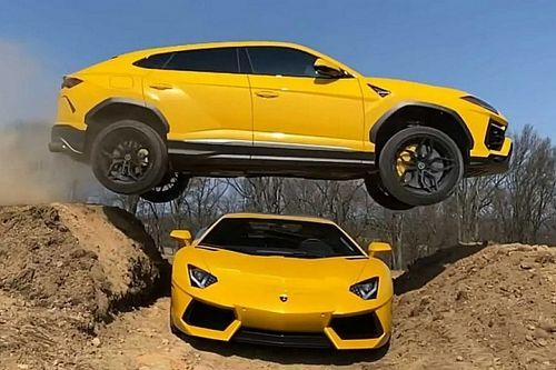 Videón, ahogy egy youtuber a Lamborghini Aventadorja felett ugratott át egy Urusszal