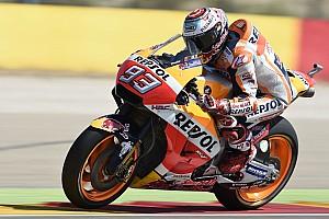 Marquez aan kop in warm-up Aragon, bijna-crash voor Rossi