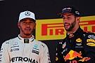 Premier podium pour un Ricciardo qui envie Hamilton et Vettel