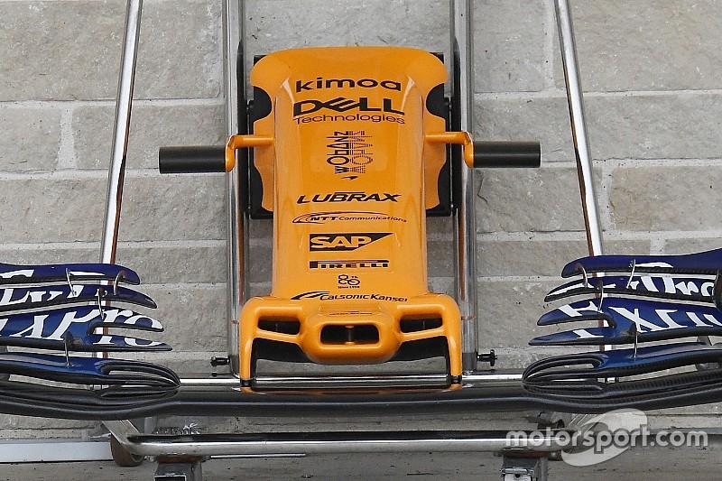McLaren: spariscono i lunghi soffiaggi sul muso della MCL33