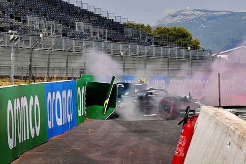 Videón Vettel kicsúszása és koccanása az első edzésről