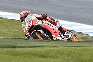 MotoGP Practice report Australian MotoGP: Marquez fastest in wet warm-up