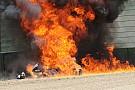 WSBK Фото: горящий мотоцикл Aprilia в гонке WSBK
