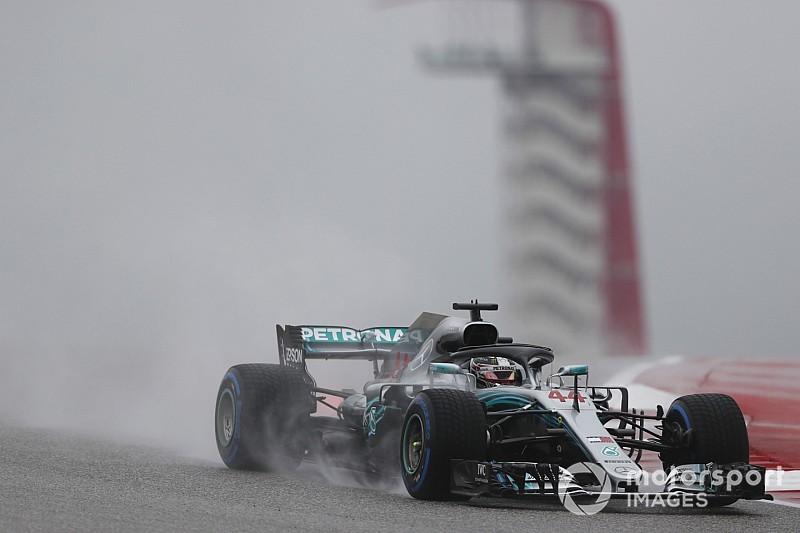 F1アメリカFP1速報:ウエットで行われたFP1、ハミルトン首位