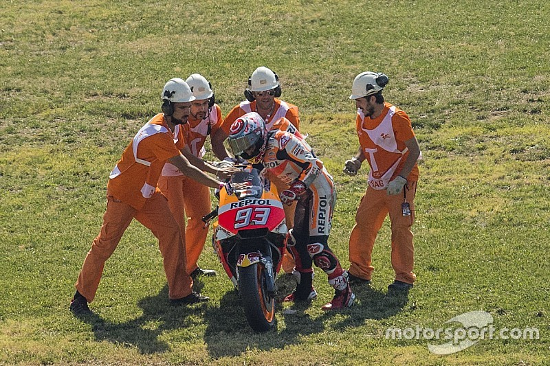 "Marquez: Aragon qualifying crash down to ""pushing too much"""