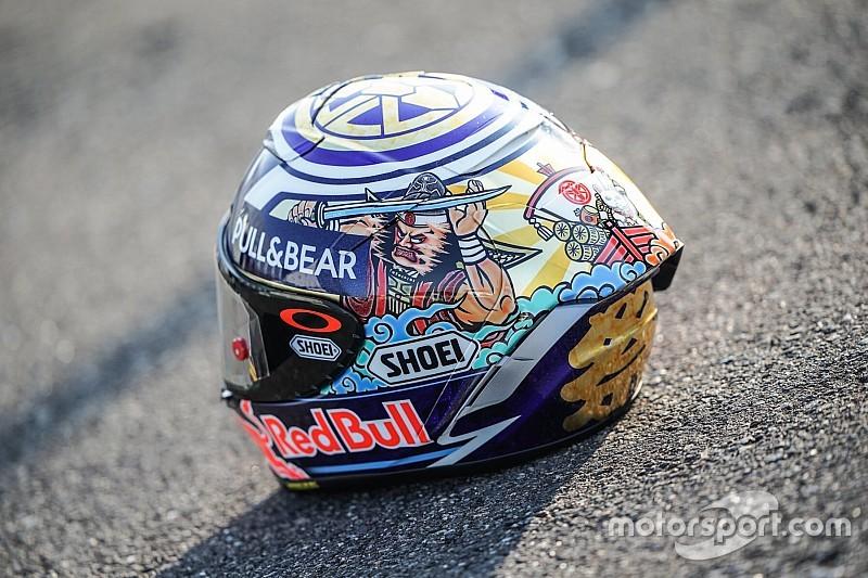 Маркес выступит в Японии в особом шлеме. Там есть кот и демоны