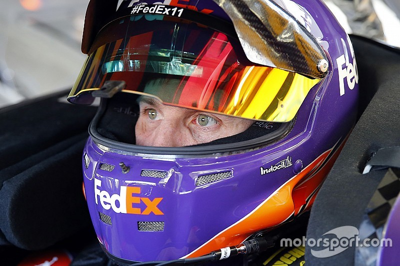Hamlin tops Friday Cup practice, teammate Suarez crashes