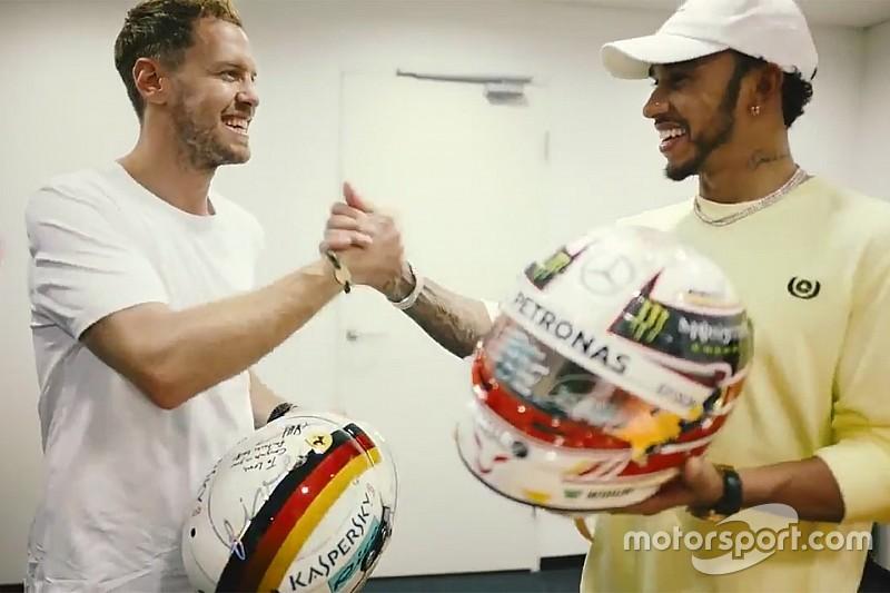 VÍDEO: Hamilton e Vettel trocam de capacete após Abu Dhabi